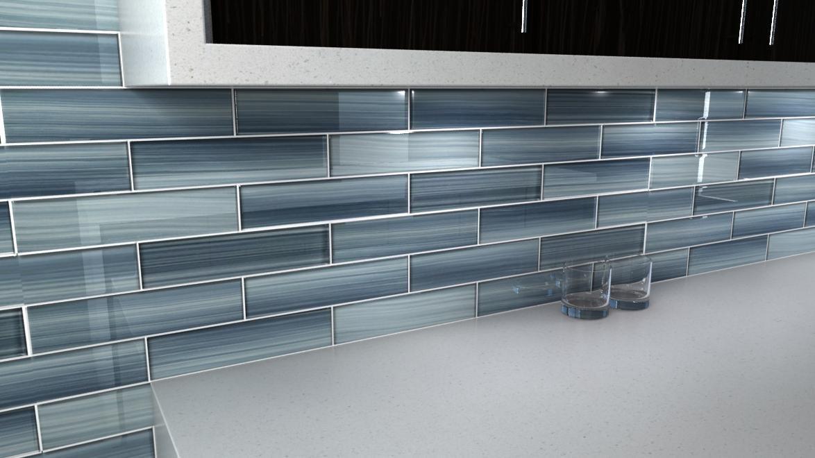 Light grey glass tile backsplash