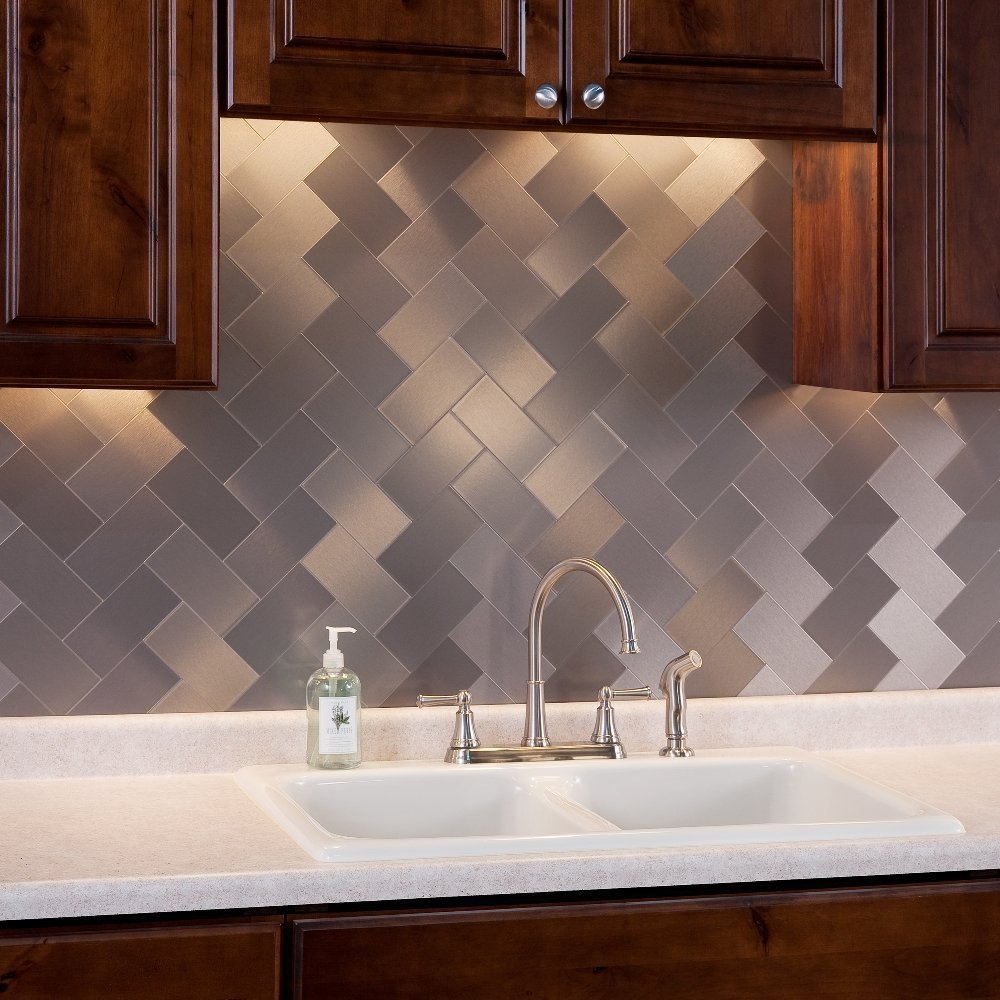 Self Stick Metal Backsplash Tiles Home Depot Metal Tile: Stainless Steel Backsplash Tiles