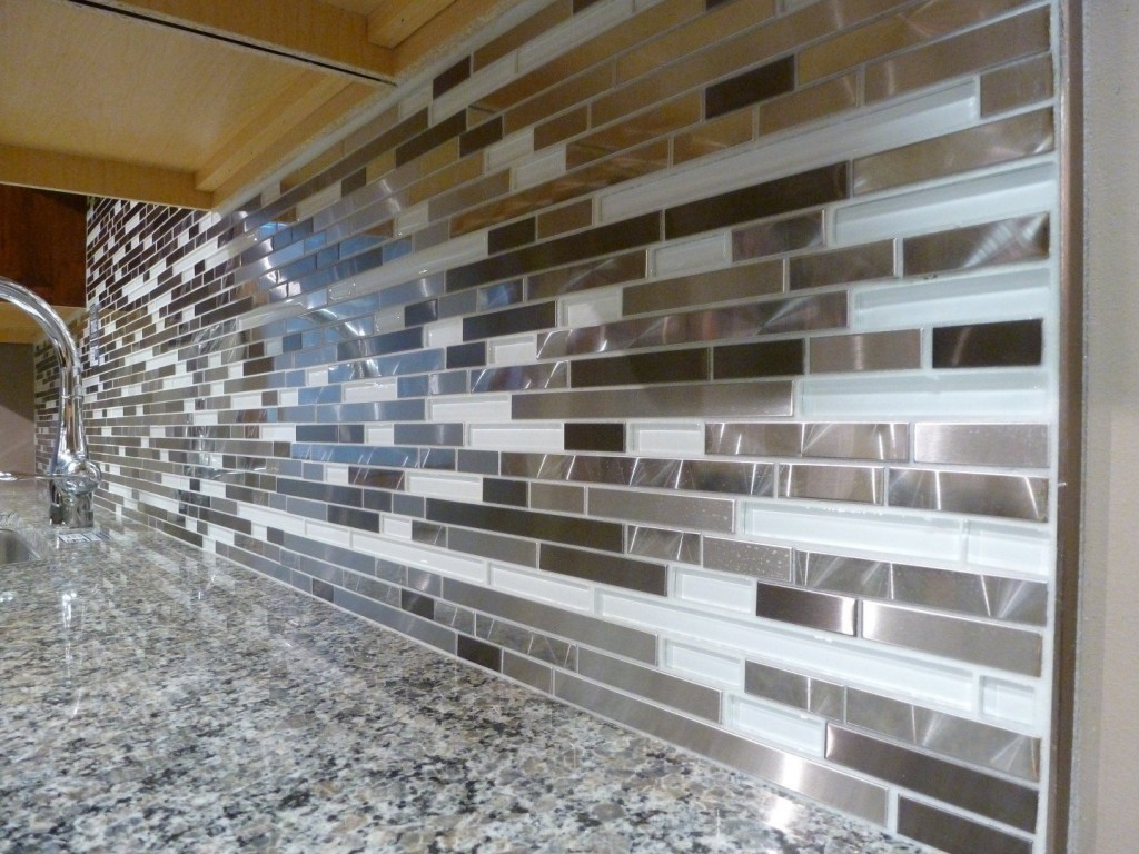 Metal Wall Tiles For Kitchen Black Grout On Glass Mosaic Backsplash Pictures To Pin On