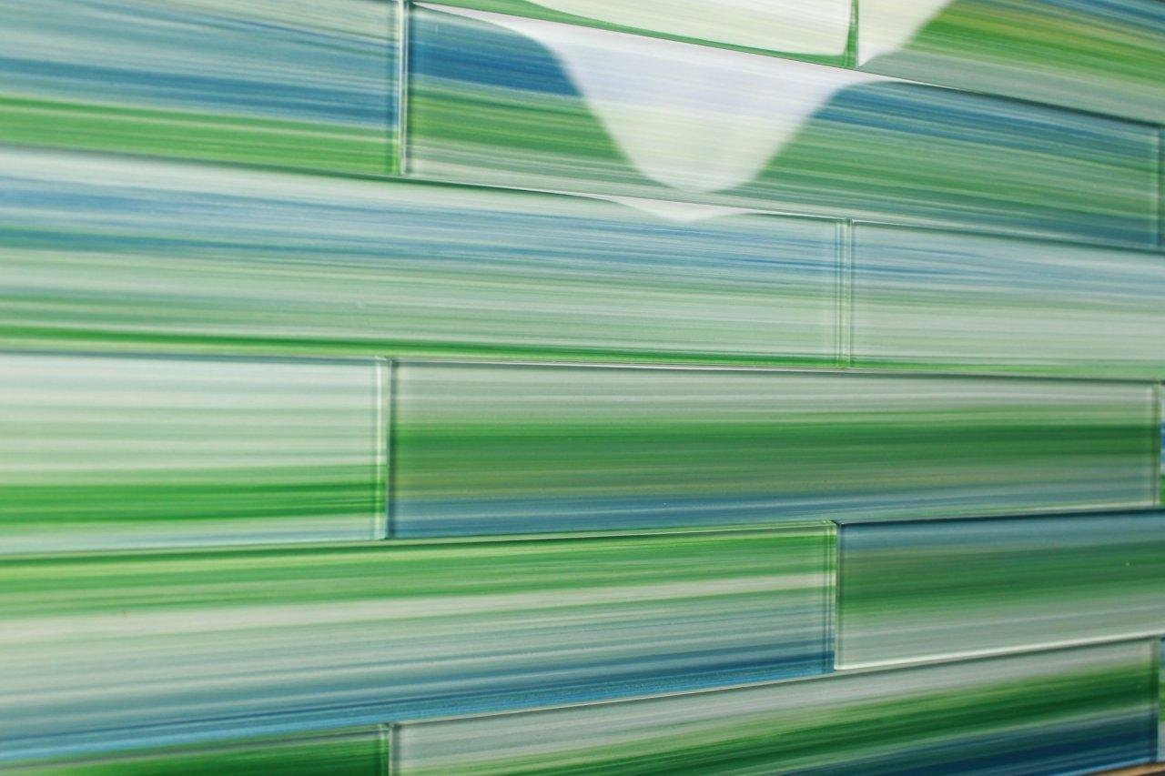 Green glass bathroom tile - Subway Tile