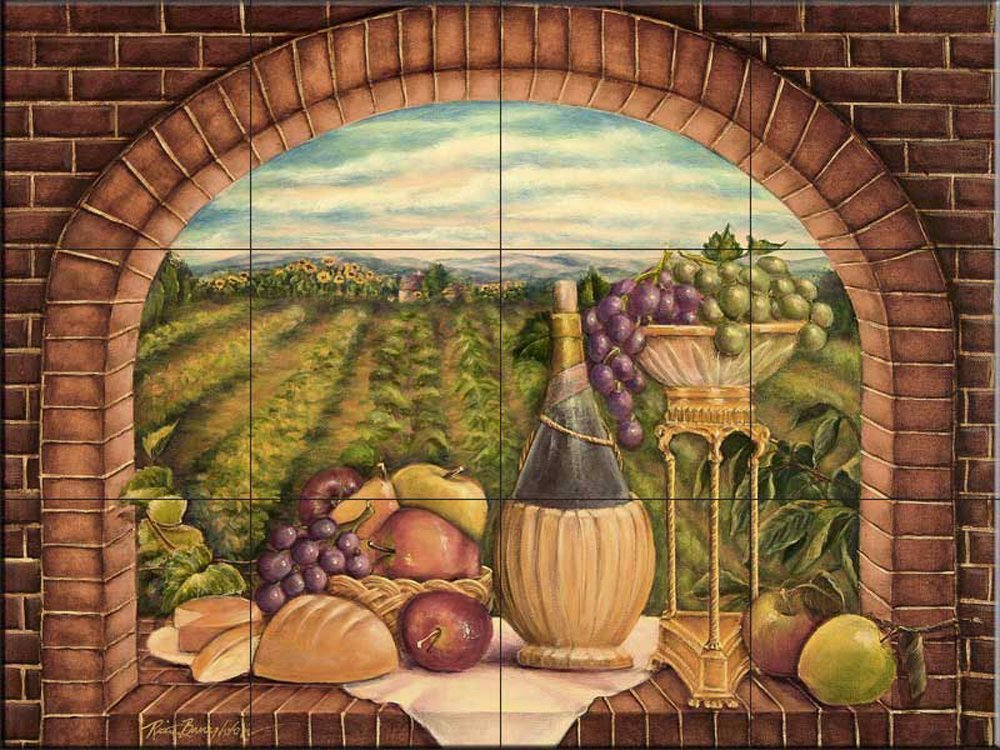 Ceramic Tile Murals For Kitchen Backsplash